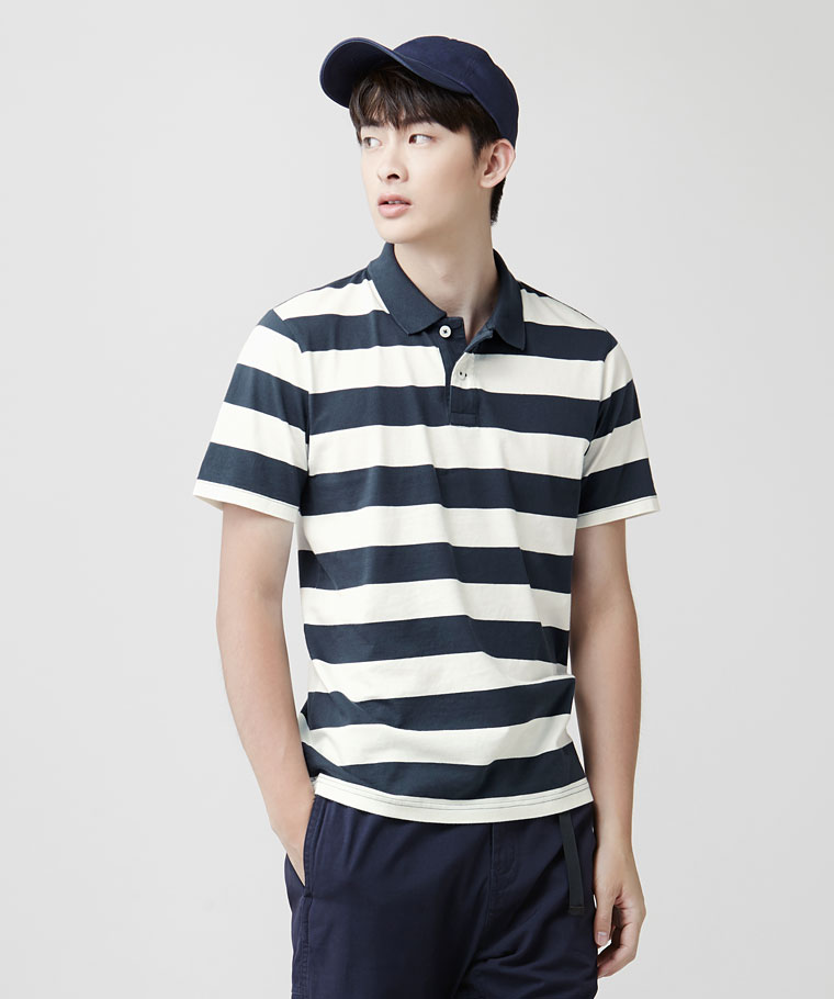 純棉條紋polo衫-男