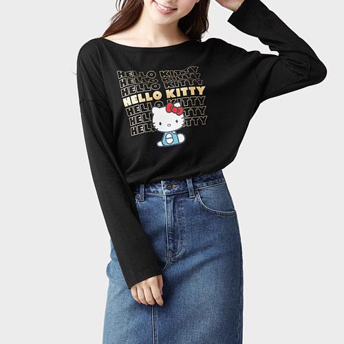 Hello Kitty寬版長袖印花T恤-06-女
