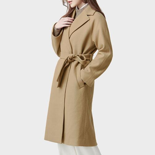 羊毛混紡綁帶大衣-女