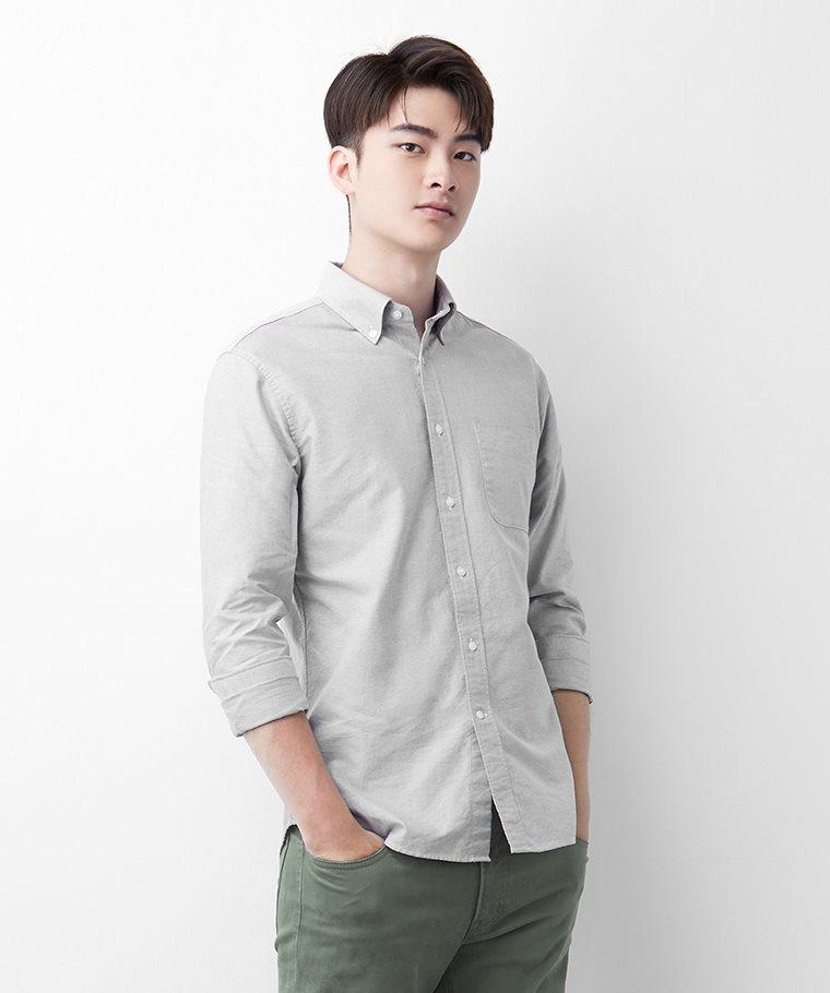 牛津修身長袖襯衫-男