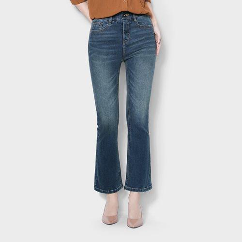 高腰收腹靴型九分牛仔褲-女