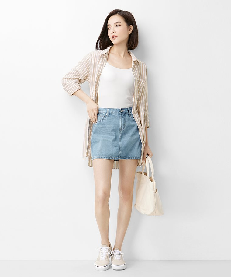 牛仔連褲短裙-01-女