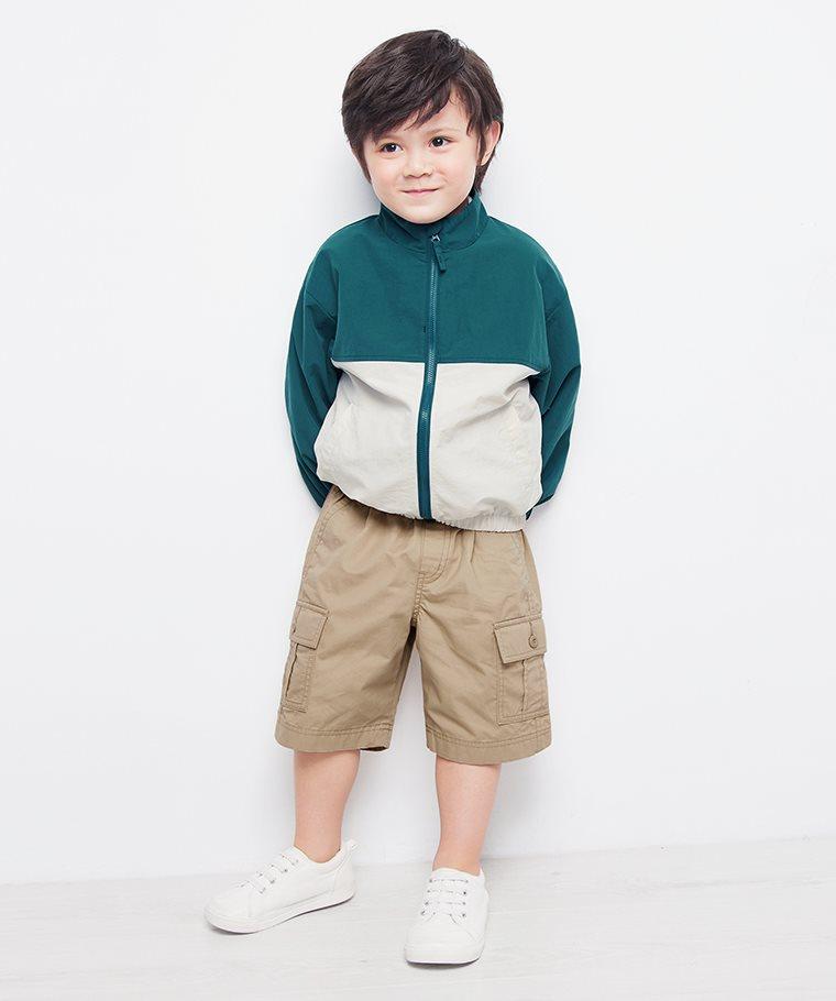 輕型配色立領風衣外套-童