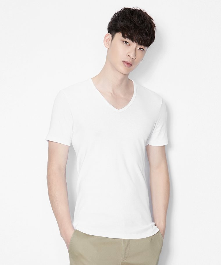 無側縫V領T恤(2入)-男