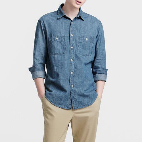 牛仔雙口袋長袖襯衫-男