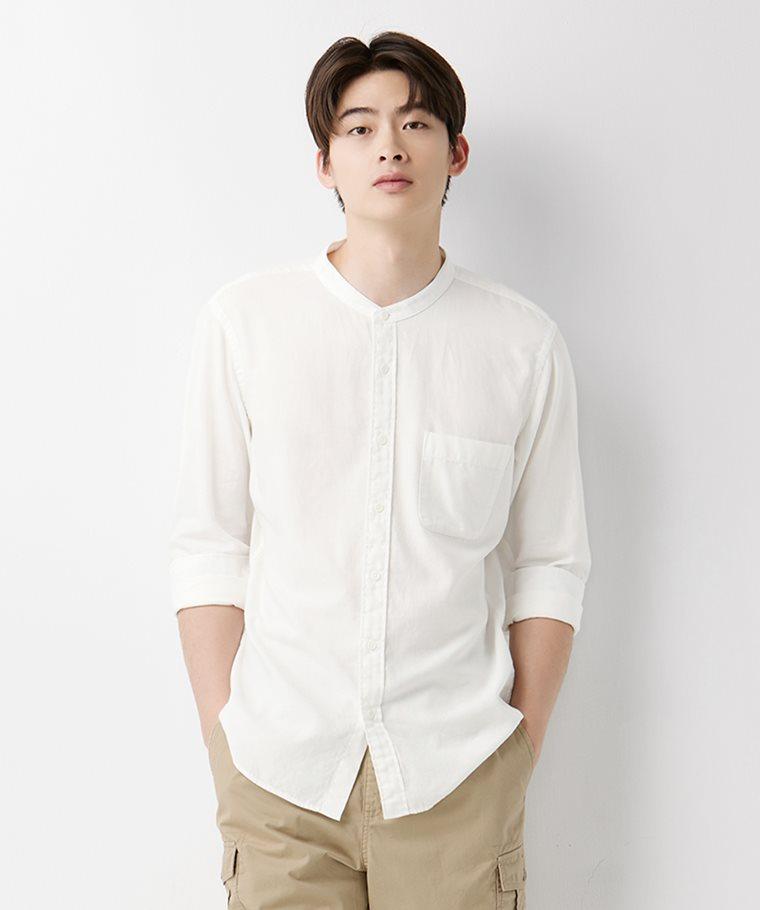 柔軟斜紋立領長袖襯衫-男
