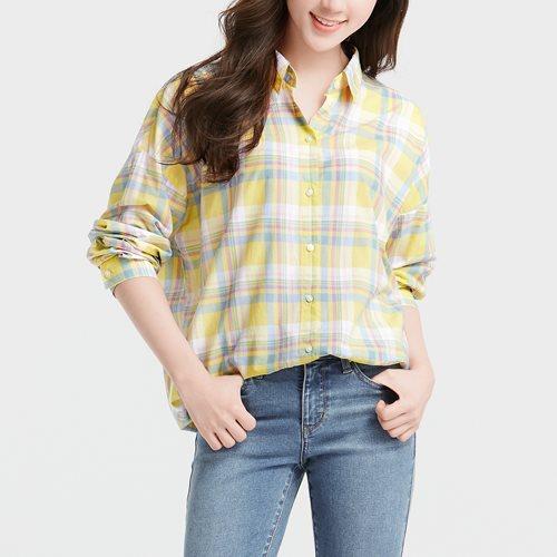 格紋寬鬆襯衫-女