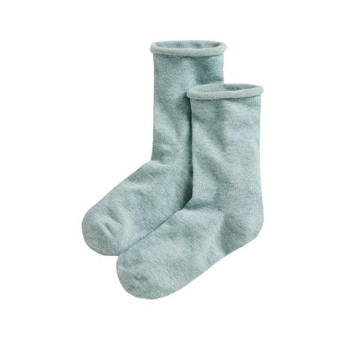 素色捲邊襪-女