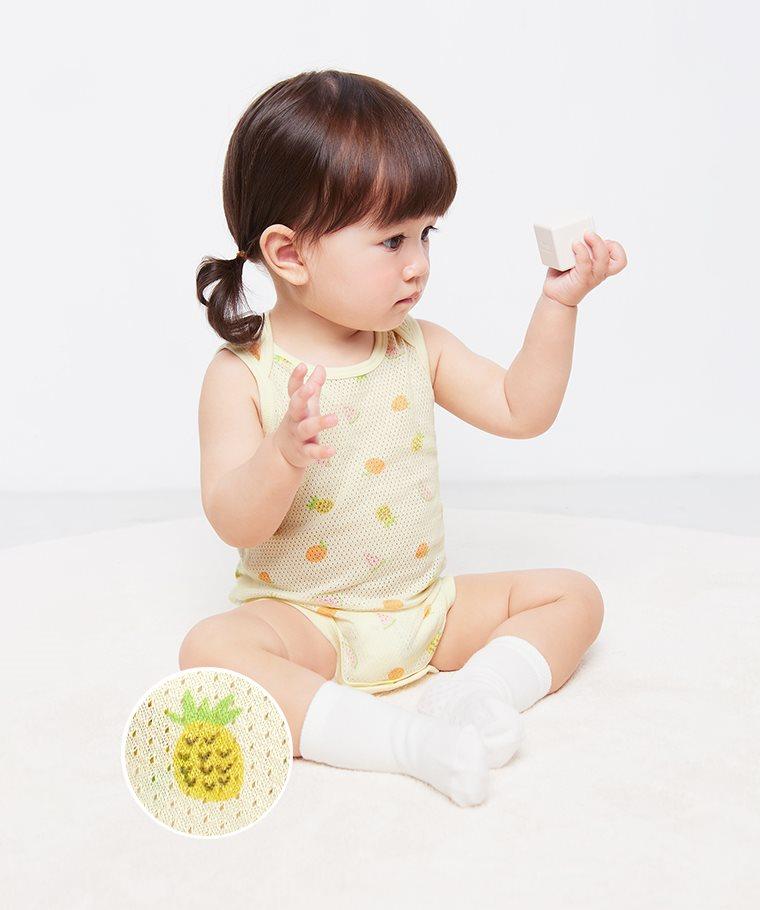 純棉網眼無袖包臀衣(2入)-Baby