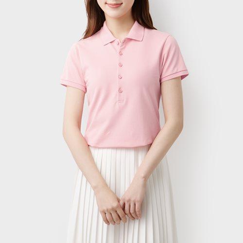 棉質網眼彈性polo衫-女