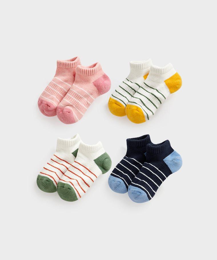 毛圈條紋踝襪-童