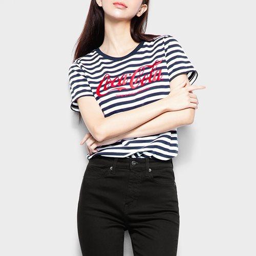可口可樂條紋印花T恤-13-女