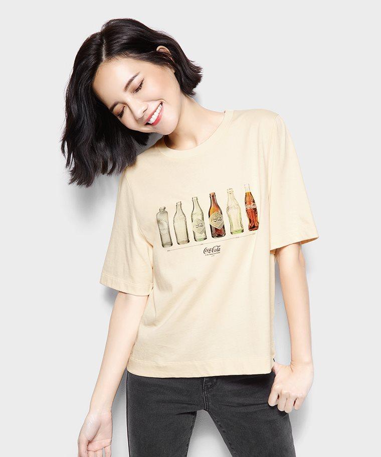 可口可樂寬版印花T恤-05-女