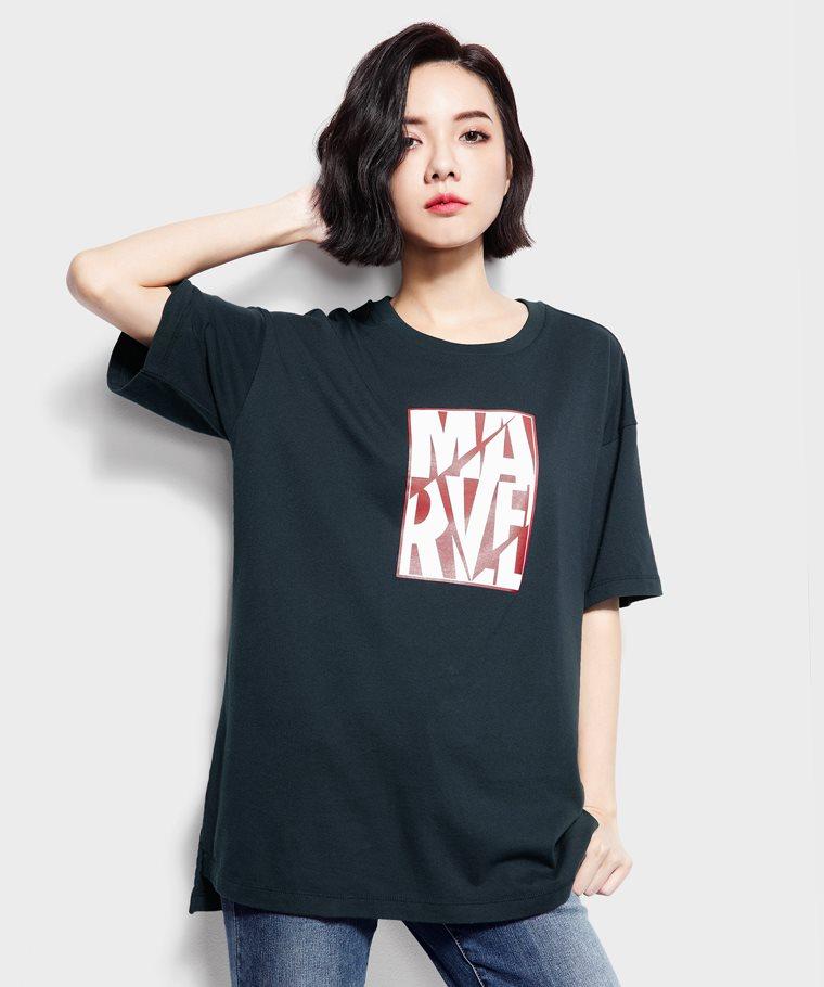 漫威系列寬長版印花T恤-03-女