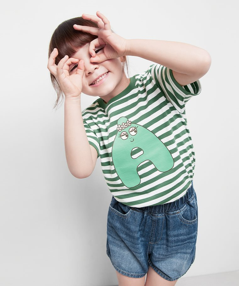 BARBAPAPA條紋印花T恤-10-童