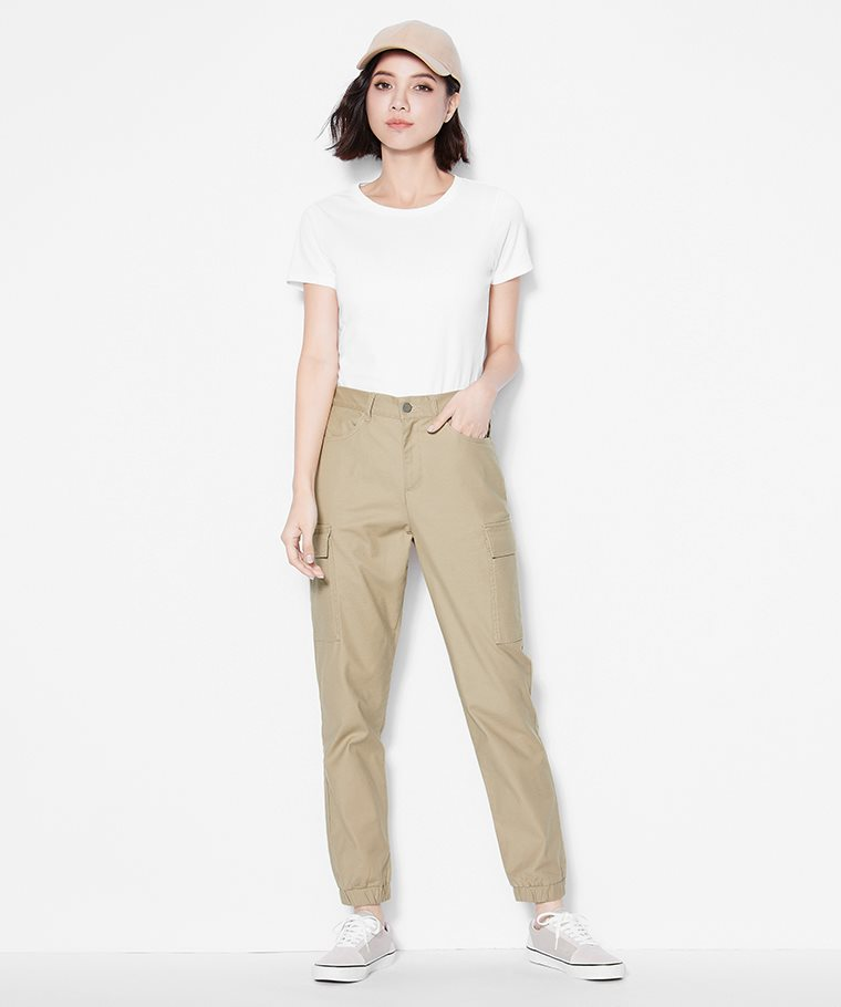 棉質工作束口褲-女