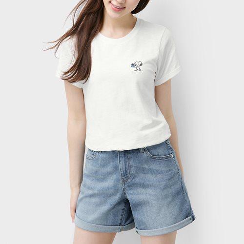 史努比系列竹節棉T恤-女