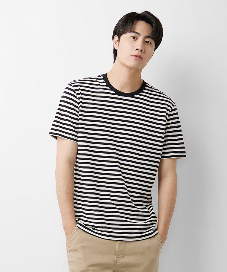 純棉條紋圓領T恤-02-男