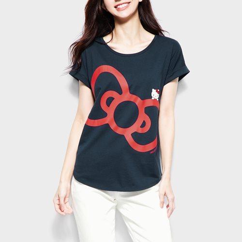 Hello Kitty袖口反折印花T恤-14-女