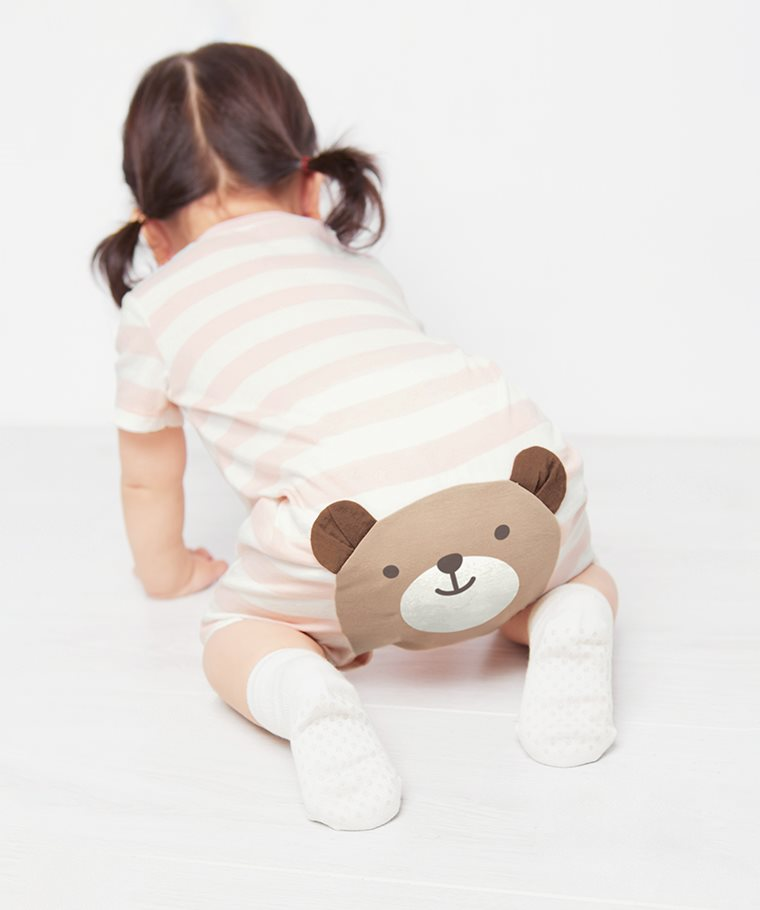 純棉條紋印花連身衣-Baby