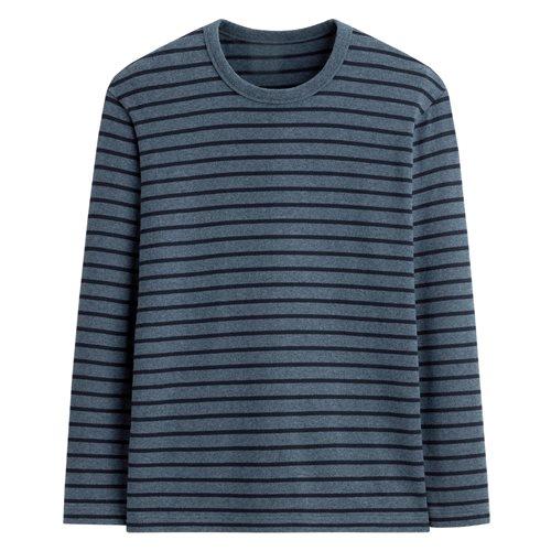 純棉粗紡條紋圓領長袖T恤-男