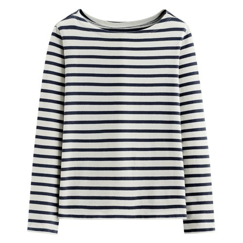 純棉粗紡條紋船型領長袖T恤-女