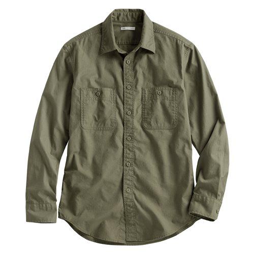 水洗工作長袖襯衫-男