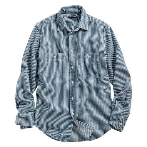 牛仔條紋襯衫-男