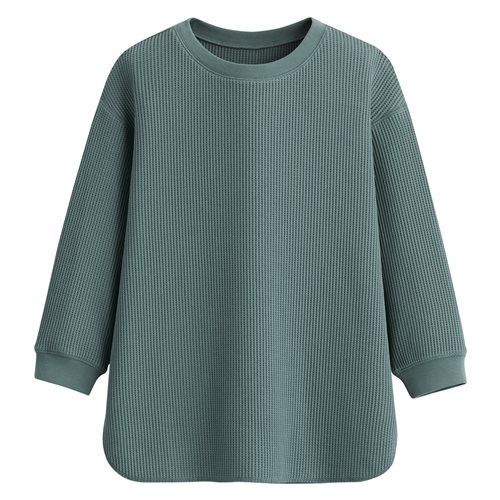 華夫格圓領七分袖T恤-女