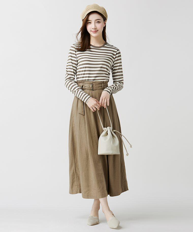 純棉條紋長袖T恤-女