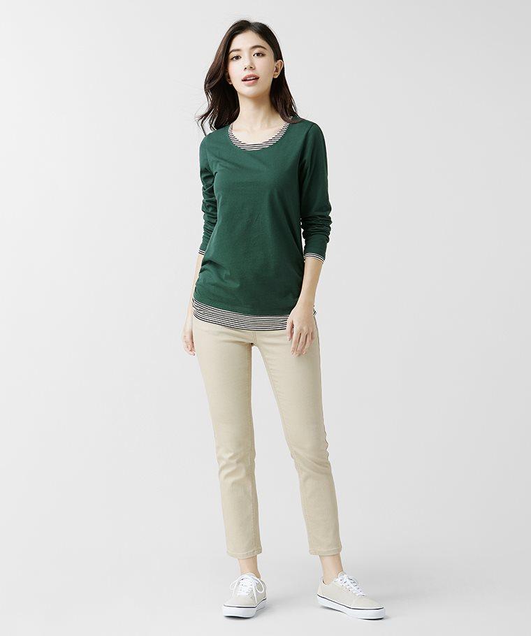 純棉配色長袖T恤-女