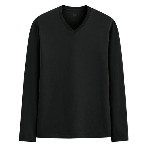純棉V領長袖T恤-男