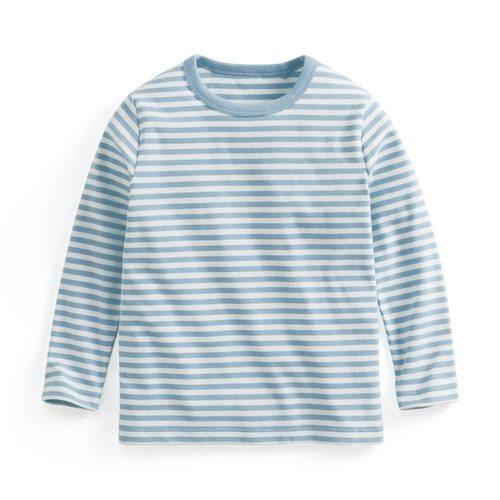 磨毛羅紋條紋圓領T恤-童
