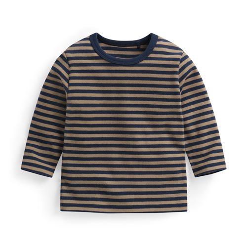 磨毛羅紋條紋圓領T恤-Baby
