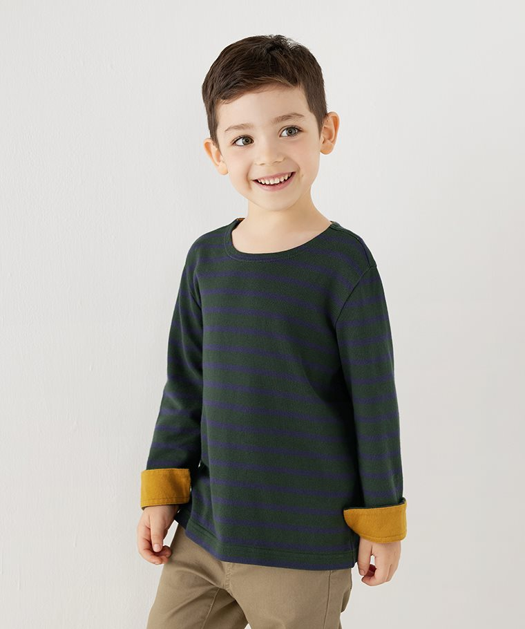 純棉粗紡條紋配色T恤-童