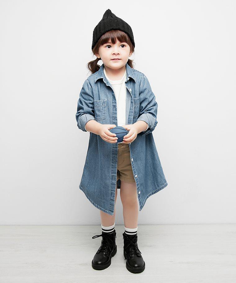 牛仔襯衫式洋裝-童