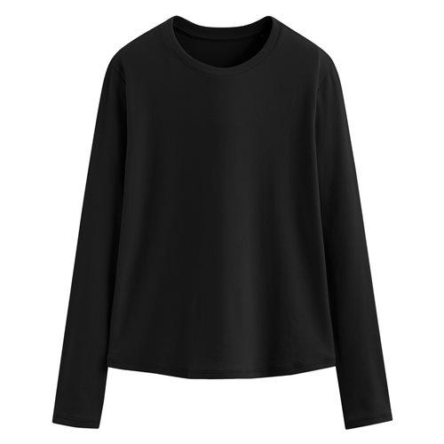 輕柔羅紋圓領T恤-女