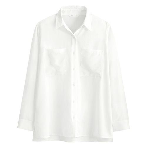 嫘縈雙口袋寬版襯衫-女