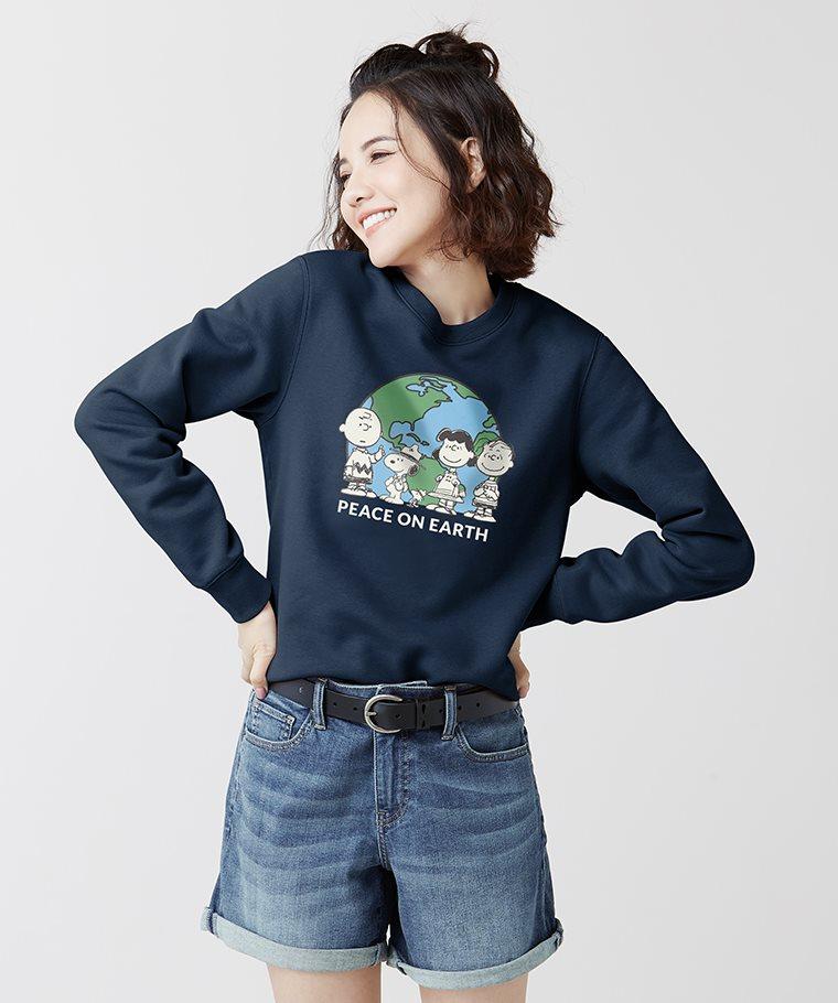 史努比系列刷毛圓領衫-04-女