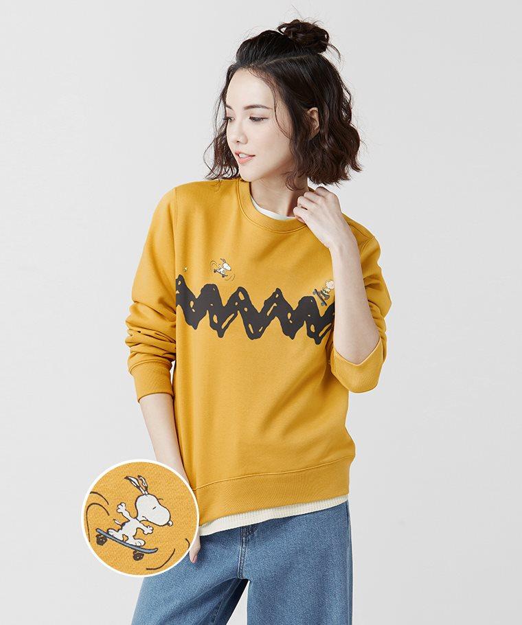 史努比系列刷毛圓領衫-03-女