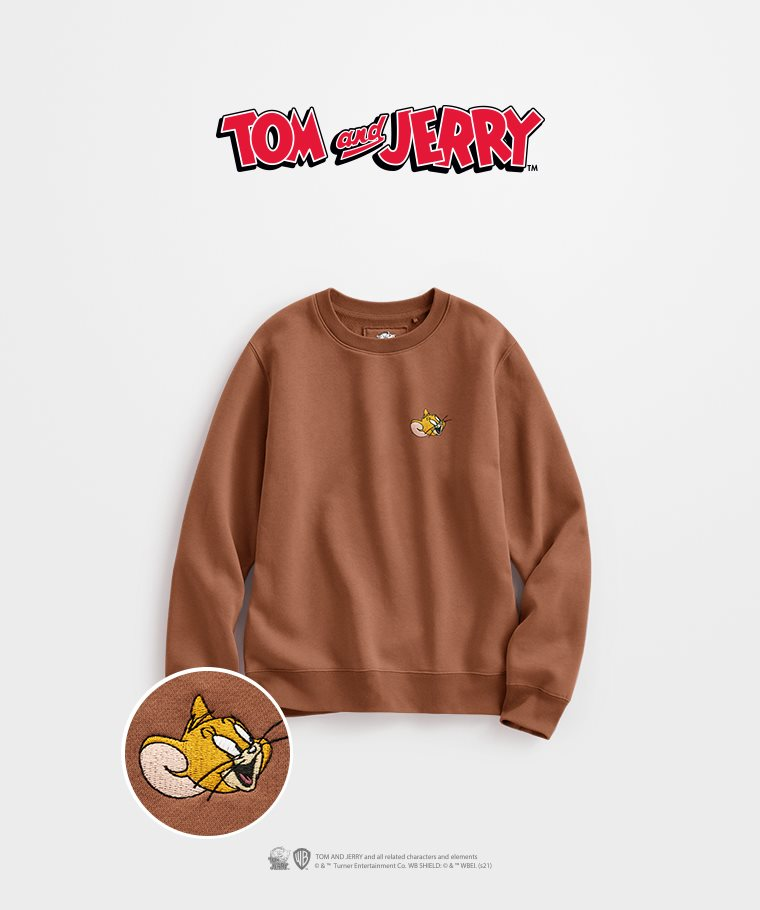 Tom & Jerry刷毛圓領衫-04-女