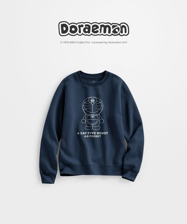 哆啦A夢刷毛圓領衫-01-女