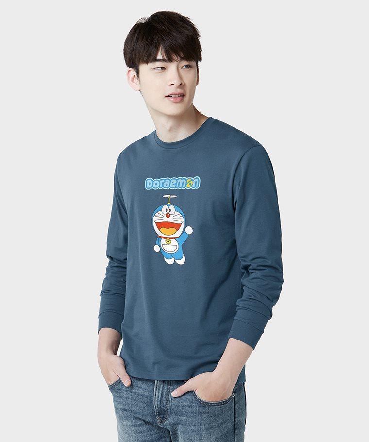 哆啦A夢長袖印花T恤-01-男