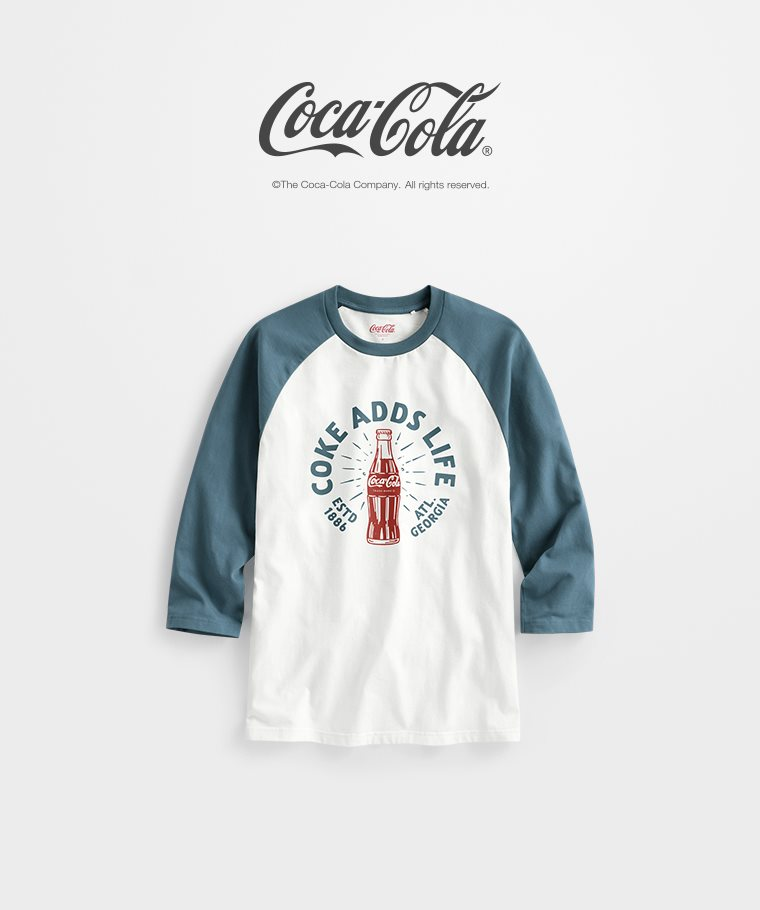 可口可樂拉克蘭七分袖印花T恤-03-男