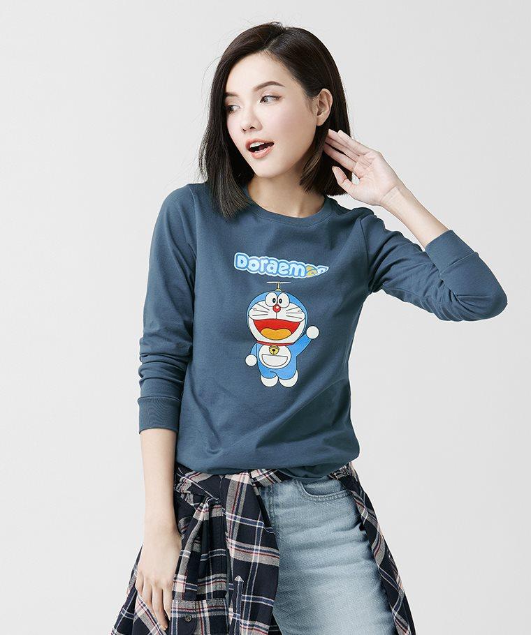 哆啦A夢長袖印花T恤-01-女