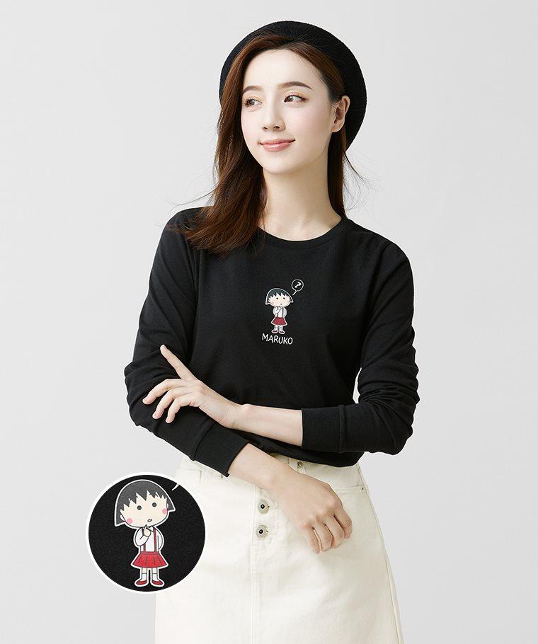 櫻桃小丸子長袖印花T恤-03-女