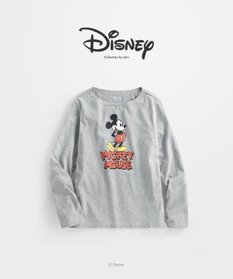 迪士尼系列寬版長袖印花T恤-13-女