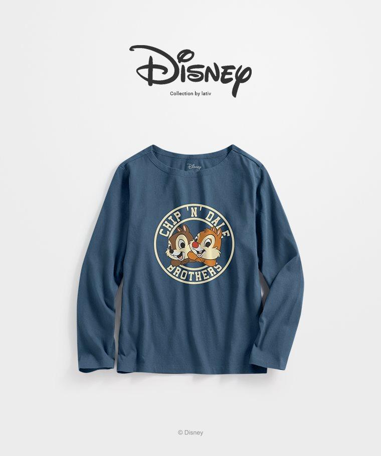 迪士尼系列寬版長袖印花T恤-15-女