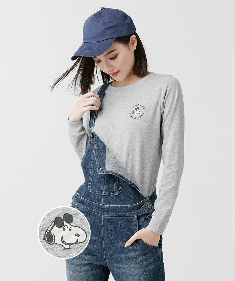史努比系列長袖印花T恤-06-女