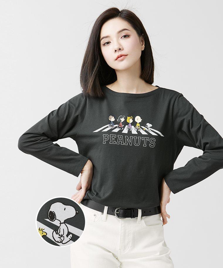 史努比系列寬版長袖印花T恤-02-女